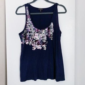 Express Sequin Navy Top